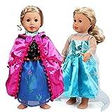 VAMEI 2 Set Mädchen Puppe Kleidung Gefrorene Prinzessin Kleid Ballkleider ELSA und Anna Prinzessin Kostüme für 18 Zoll American Girl Dolls