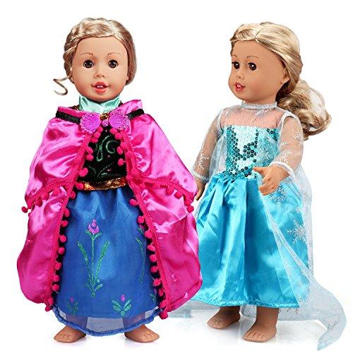 VAMEI 2 Set Mädchen Puppe Kleidung Gefrorene Prinzessin Kleid Ballkleider ELSA und Anna Prinzessin Kostüme für 18 Zoll Dolls (Gefrorene Prinzessin Anna Kostüm)
