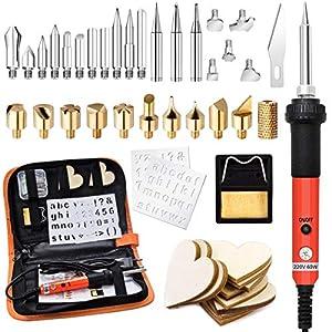 45pcs Kit Pirograbador de Madera,Preciva Kit Pirograbdores Electrico 60W