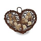 Relaxdays Deko Herz groß, Herz aus Holz, Holzherz zum Aufhängen, Herzdeko Landhaus, H x B x T: 45 x 50 x 14 cm, Natur