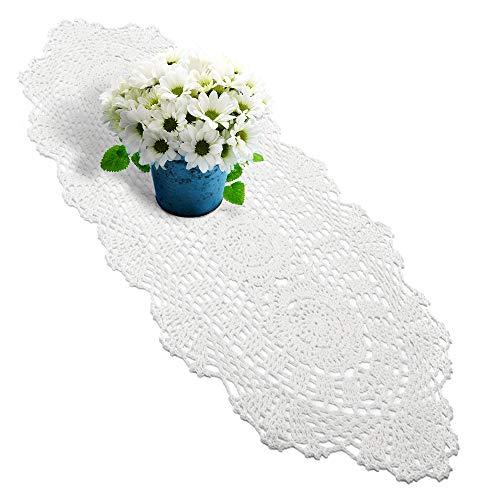 Yazi weiß Tischläufer Oval Baumwolle Handwerk Crochet Shabby Vintage gehäkelt Tisch Sofa Deckchen 30x 60cm