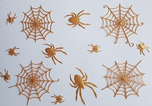 Essbare Kuchendecke/-dekoration, Design: Spiderman mit Spinnennetz, für Halloween, Kinder, Kuchen oder Cupcakes 22 cm large web, 7 cm small web gold
