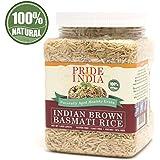 El orgullo de la India - Extra Largo Marrón arroz Basmati - envejecido naturalmente grano saludable, tarro 1,5 libra