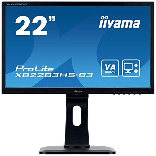 iiyama ProLite XB2283HS-B3 54,7cm (21,5 Zoll) VA LED-Monitor Full-HD (VGA, HDMI, DisplayPort, Höhenverstellung, Pivot) schwarz