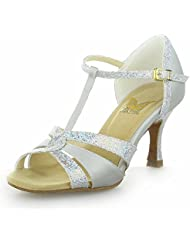 Jia Jia 20519 Latin Women's Sandals 2.8'' Flared Heel Super Satin with Sparkling Glitter Dance Shoes