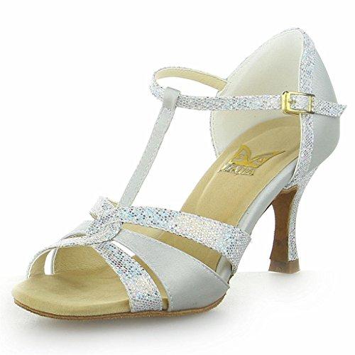 JIA JIA 20519 Damen Sandalen Ausgestelltes Heel Super-Satin Latein Tanzschuhe Silber, 38