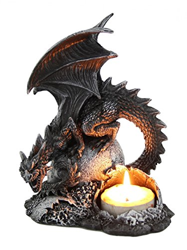 Drachen Teelichthalter Dragon Figur Kerzenhalter Gothic Drache (Drachen Figuren)