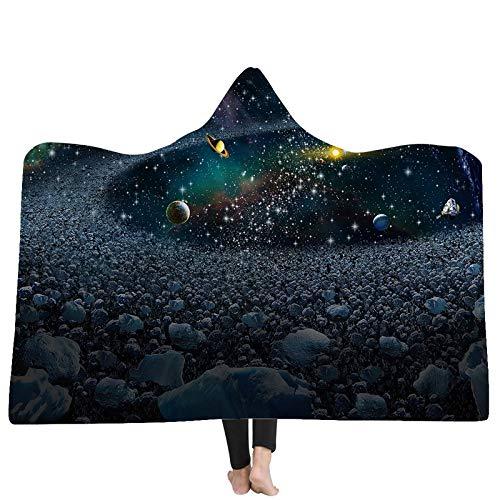 FGVBWE4R Mit Kapuze Decken 3D Blanket Nebelflecken Planeten 3D Druck mit Kapuze Decke Tragbare Home Adult Tragbare Warme Decken New-06,130x150cm