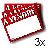 3 Panneaux À Vendre - Autocollant - Non rigide - Résiste aux intempéries - Format A4 - 29,7 x 21 cm - Panneau Immobilier - Appartement à Vendre - Voiture à vendre - Signalétique Annonce de Vente...