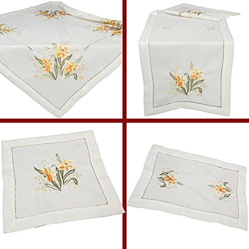 ke Narzisse Frühling Stickerei Hohlsaum Tischdecke Tischläufer ca. 85 x 85 cm Polyester, Weiß (Esstisch Läufer Frühling)