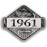 Distressed envejecido Vintage 1961Edition Classic Retro vinilo coche moto Cafe Racer Casco Adhesivo Insignia 85x 70mm