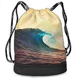 Qinckon Ocean Breaking Wave at Sunset Basketball Drawstring Bag Gym Bag Sport Bag for Men Women