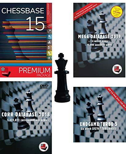 ChessBase 15 - Premium-Paket - ChessBase 15 Chess Database Management Software Programm Bundle mit Mega Database 2019, Endgame Turbo 5, Corr 2018 & ChessCentral's Chess King Flash-Laufwerk