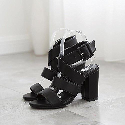LvYuan-mxx Sandales Femme / Eté retro Rome / Chunky Talon / orteil ouvert rond / Bureau & Carrière / Vêtements / Casual / Boucle / Hollow-out 35-BLACK