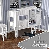 AKTION Kinderbett STRANDHAUS Massivholz weiß + GRATIS Matratze ELBBRISE 90x200cm (Wert: 189,- Euro) #15181
