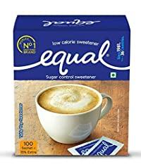 Equal Sugar Control Low Calorie Sweetener (100 Sachets + 15% Extra - Pack of 3)