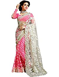 Sareena Designer Sarees Women's Pink Net Heavy Party Wear Sarees For Women Latest Design 2018 Mega Sale Offer...