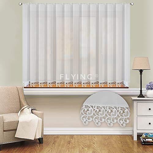 FKL Schöne Fertiggardine Fenstergardine Gardine aus Voile mit Faltenband Kräuselband Store Gipüre Kurz Modern Weiß 155x400 cm LB-20