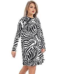 e2fca1ff7b5c Neue Frauen Damen Zebra Print Neon Langarm Swing Flared Skater Kleid Casual  Top