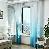 Fourseasons Rideau Voilage Voile de Fenêtre pour Salon Chambre 100 X 270 cm Design Moderne et Simple(Blue)
