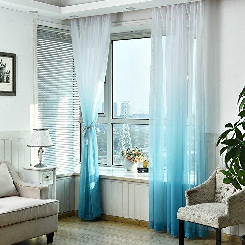 jincome blumengabeln Vorhänge Farbverlauf Fenster Gaze 100x 270cm blau