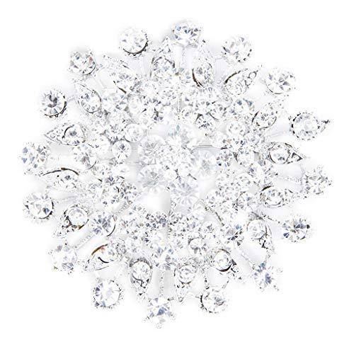 Goodplan Premium Qualität Strass Blume Braut Hochzeit Bouquet Brosche Silber