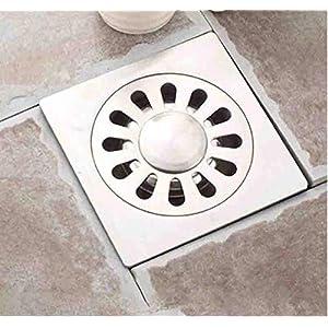 DESECHO DE DUCHA DE PISO ESY_52889 Desagüe de rejilla cuadrada 10x10CM en ACERO Cubierta de baño Filtro de cocina Bañera…