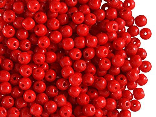 100 Stück Runde 4mm, Tschechische Gepresste Glasperlen, Coral Red (Red Opaque) -