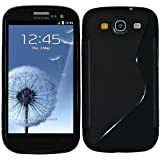 Black S Line Gel Silicone Rubber Case Cover Samsung Galaxy S3 I9300 + Screen Protector & Polishing Cloth By Connect Zone�
