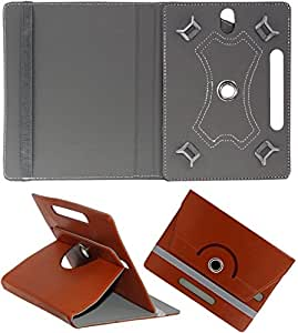 DMP 360 Degree Rotating Book Case For Alcatel Evo 8hd Cover With Stand Brown