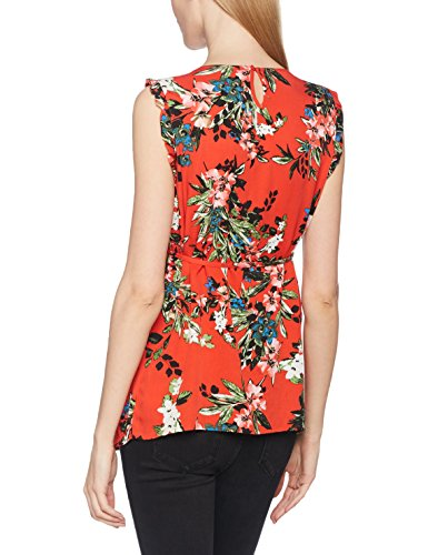 MAMALICIOUS Damen Umstands-T-Shirt Mlcuba S/L Woven Top Mehrfarbig (Fiery Red AOP:Fiery Red/Twilight Blue/Ivy Green)