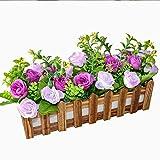 Flikool Roses Künstliche Pflanzen mit Dunkel Zaun Gefälschte Künstliche Blumen mit Topf Simulation Topfpflanzen Bonsai Kunstblumen Kunstpflanzen Ornaments Dekorationen - Lila