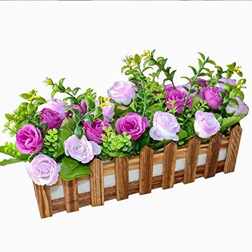 (Flikool Roses Künstliche Pflanzen mit Dunkel Zaun Gefälschte Künstliche Blumen mit Topf Simulation Topfpflanzen Bonsai Kunstblumen Kunstpflanzen Ornaments Dekorationen - Lila)