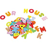 Lelin Wooden Magnetic Letters - Fridge Magnets (60 Pieces)