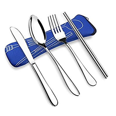 OFUN Camping Besteck, 4 Stück Besteck to Go Travel Besteck Set mit Neopren Bestecktasche, 304 ASTM Lebensmittel Verwendet Edelstahl Besteck Outdoor, Campingbesteck 1 Person