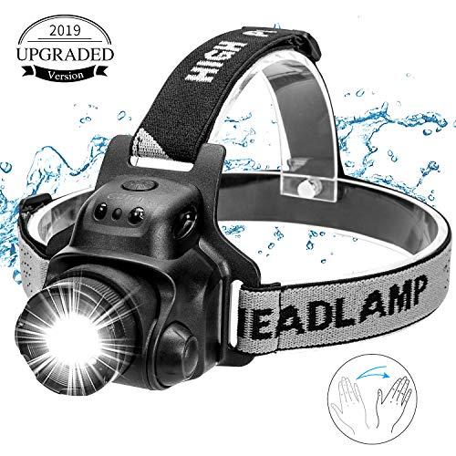 EZfull LED Stirnlampe Kopflampe mit Geste Sensor Funktion USB Wasserdicht Wiederaufladbare Headlight, 4 Helligkeiten, 90° Verstellbar, Verstellbares Band und USB Kabel, Fokusverstellbar