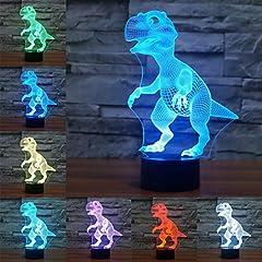 Idea Regalo - 3D Illusione Ottica Led Lampada di Illuminazione Luce Notturna, LSMY Dinosauro Lampada da Tavolo 7 Colori con Acrilico Caricatore USB per Comodino Bambini Cameretta Casa Festa Decorazione