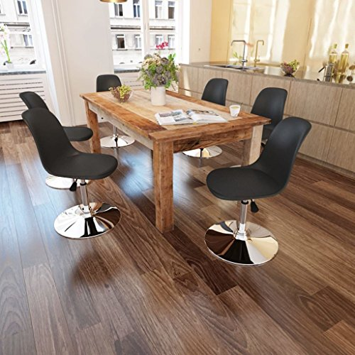 Lingjiushopping 6Stück Stühle Esszimmer höhenverstellbar drehbar schwarze Farbe: schwarz Material: Sitz aus Kunstleder + Rückenlehne aus Kunststoff + Eisen-Basis (Esszimmer Beistelltisch Kunststoff)