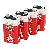 4 ANSMANN Rauchmelder Batterien Lithium 9V - 10 Jahre lagerfähige Brandmelder Batterie - Lithium E-Block für maximale Leistung - 9V Block für Feuermelder, Bewegungsmelder, Alarmanlagen & CO Melder