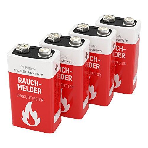 ANSMANN Rauchmelder Batterie E-Block CR-V9 ER9V 9V Longlife Lithium für Brandmelder, Feuermelder - 10 Jahre lagerfähig - 4 Stück