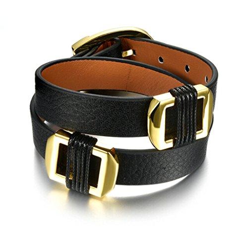 Fuchsia-gürtelschnalle (Epinki Unisex Armband,Edelstahl Gürtelschnalle Form Damenarmband Herrenarmband Elegant Armschmuck Poliert Armreif Schwarz 16.5 CM)