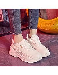 Swertuy Sexy Sabiduría Zapatos Viejos Primavera Femenina Nueva versión Coreana Ocasional de Las Zapatillas de Deporte de Suela Gruesa Harajuku Salvaje, 38, Blanco