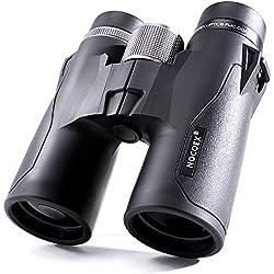 """NOCOEX 10x42 Prismáticos Pequeños, Con Prisma Tipo """"Roof"""" a Prueba de Golpes, de Ggua y de Niebla. Adecuado Para la Observación de Aves, Observar Paisajes e Ir de Caza, Negro"""