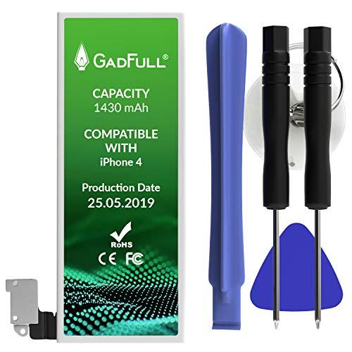 GadFull Batteria compatibile con iPhone 4 | 2019 Data di produzione | Manuale Profi Kit Set di Attrezzi | Batteria di ricambio senza cicli di ricarica | Con tutti gli APN originali