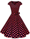 Dresstells Damen Vintage 50er Cap Sleeves Rockabilly Swing Kleider Retro Hepburn Stil Cocktailkleid Black Red Dot 2XL
