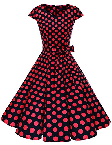 Dresstells Damen Vintage 50er Cap Sleeves Rockabilly Swing Kleider Retro Hepburn Stil Cocktailkleid Black Red Dot L