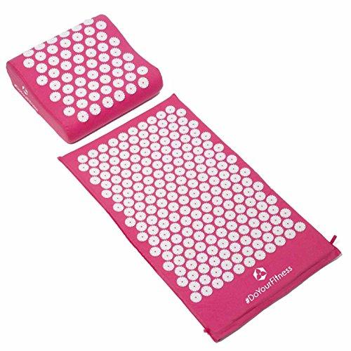 #DoYourFitness® Akupressur-Set inkl. Massagematte (75x48cm) & Entspannungs-Kopfkissen (30x30cm) | Entspannung & Lockerung von Verspannungen - ideal als Meditationsmatte / Nagelmatte »Bikash« pink