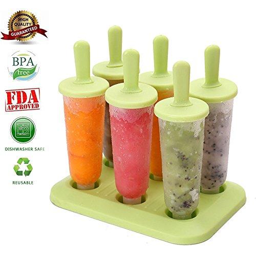 Set von 6Ice Lolly Formen Popsicle Form Baby wiederverwendbar Popsicle Sticks Kunststoff DIY Popsicle Formen Sommer Classic Ice Maker–BPA frei Kunststoff–Multi Farben für Kinder Home Kitchen, plastik, grün, Einheitsgröße