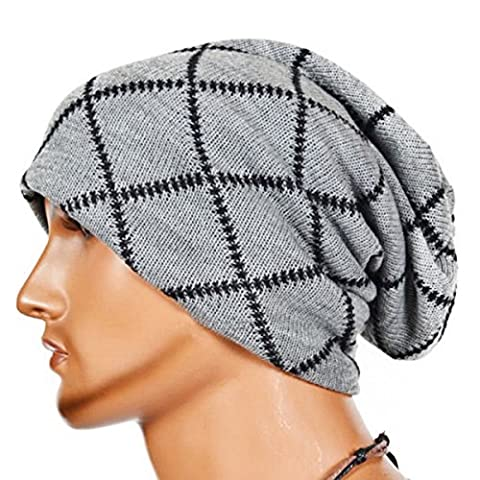 Knitting Wool Striped Warm Hat - iParaAiluRy Unisex Luxurious Fashionable Soft Slouchy Cap Hip-Hop cap Beanie Hat in Winter and