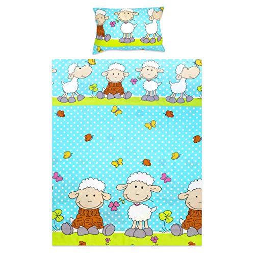 BlueberryShop Literie pour enfants | Housse couverture 120 x 150 cm | Housse oreiller 42 x 62 cm | Pour enfants 0-7 ans | Bleu Mouton